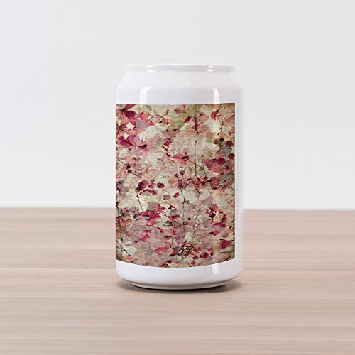 - Ambesonne Antique Cola Can Shape Piggy Bank, Grungy Effect Cherry Blossoms on Ribbed Bamboo Retro Background Floral Art Work, Ceramic Cola Shaped Coin Box Money Bank for Cash Saving, Pink Beige