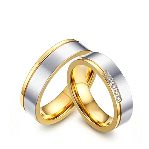Stainless Steel 18k Gold Plated Wedding Engagement Band Couple Ring - 6