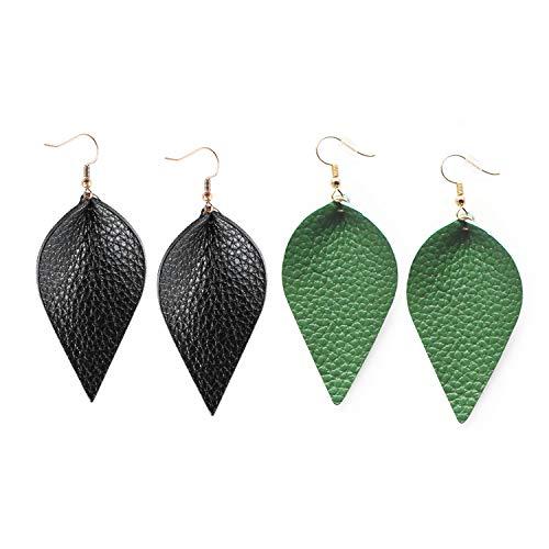 Green Leather Leaf - Me&Hz Black Green Leaf Earrings Dangle Genuine Leather Leaf Drop Earring Faux Leather Earrings Set Gift for Women Girls, 2 Pairs