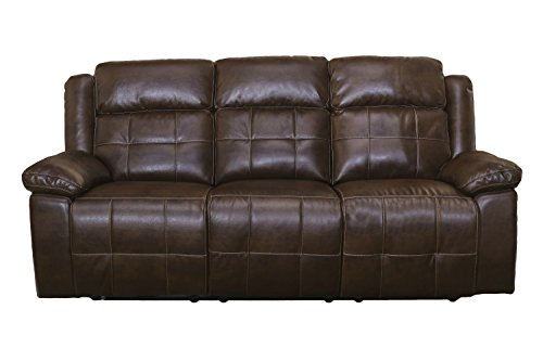 New Classic Furniture 22-2228-32PH-PEN Clayton Full Power Dual Recliner Sofa with Power Headrests, Power, Penny