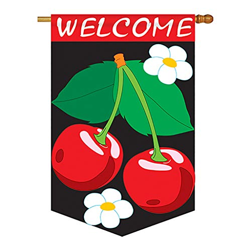 (Two Group - Welcome Cherries Flag Food - Everyday Fruits Applique Decorative Vertical House Flag 28
