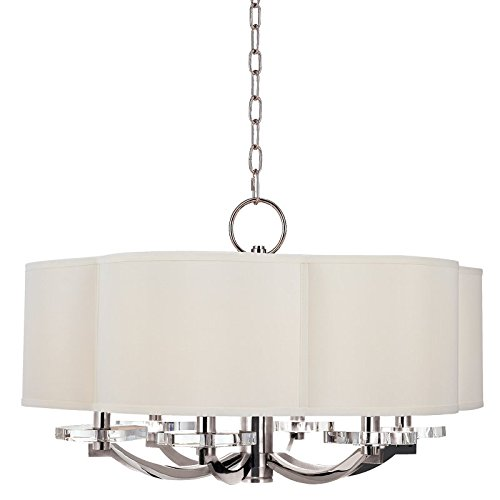 Garrison 6-Light Chandelier – Polished Nickel Finish with Off White Faux Silk Shade For Sale