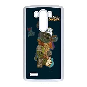 Protection Cover Qeptv LG G3 Cell Phone Case White world of warcraft map game Protection Cover