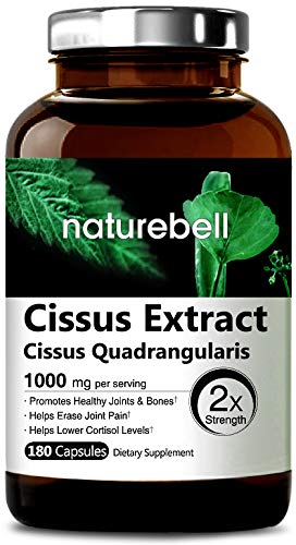 Maximum Strength Cissus Quadrangularis Extract, 1000mg per Serving,180 Capsules, Strongly Support Healthy Joint, Tendon, Bone, Skin, Hair & Cartilage, Non-GMO and Made in USA ()