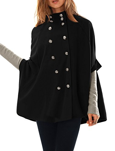 Allegra K Women Stand Collar Double Breasted Worsted Poncho Coat M Black
