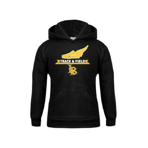 Long Beach State Youth Black Fleece Hoodie Track and Field Side Shoe Design