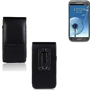 Funda para Samsung Galaxy S3, la bolsa de cinturón de cuero de imitación de alta calidad en color negro   elegancia funcional simple llano. Teléfono Móvil Funda Caso bolso cruzado bolsillo clip de transporte vertical de la cubierta del bolso