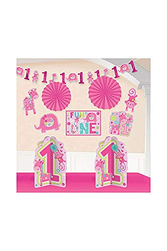 Amscan One Wild Girl 1st Birthday Room Decorating Kit, Large, Pink -