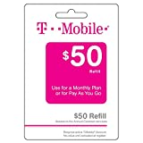 T-Mobile $50 Refill Monthly/Prepaid Pin (Use for a monthly plan or for Pay-As-U-Go) (Reup, Refill, Recharge, Reboost, Top Up)