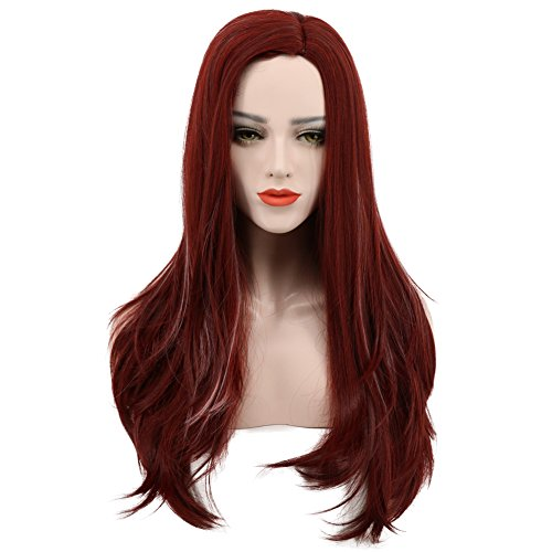 (Karlery Women's Long Wave Dark Red Wig Halloween Cosplay Wig Costume Party)