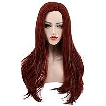 Karlery Women's Long Wave Dark Red Wig Halloween Cosplay Wig Costume Party Wig