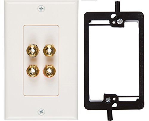 Polk Dual Subwoofers (Buyer's Point Two Speaker Wall Plate, Premium Quality Gold Plated Copper Banana Binding Post Coupler Type, with Single Gang Low Voltage Mounting Bracket Device)