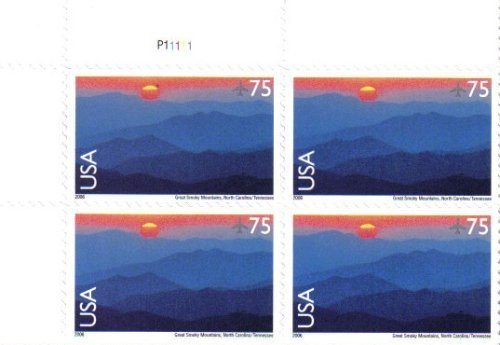 2006 Great Smoky Mountains ~ AIRMAIL #C140 Plate Block of 4 x 75 Cents US Postage Stamps