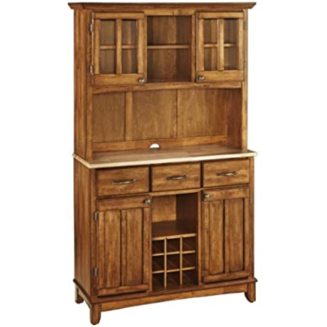Home Styles 5100 0061 62 Buffet Of Buffets Natural Wood Top Buffet With Hutch Cottage Oak Finish 41 3 4 Inch