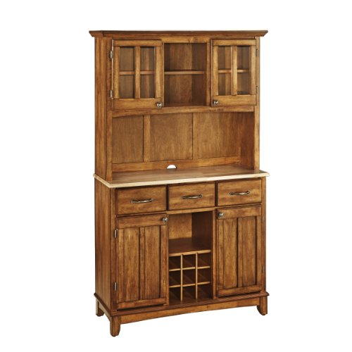 Dining Room Natural Wood Hutch (Home Styles 5100-0061-62 Buffet of Buffets Natural Wood Top Buffet with Hutch, Cottage Oak Finish,)