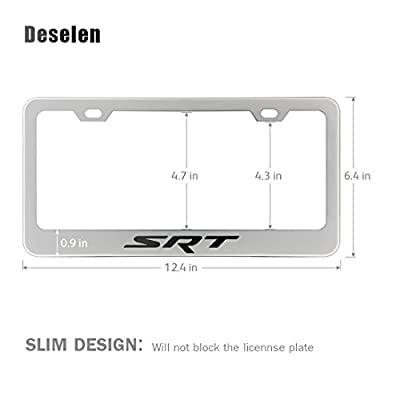 Deselen - LP-BS12P - Stainless Steel License Plate Frame with Screw Caps Cover Set for Jeep/Dodge SRT, Silvery White/Chrome (2 Pieces): Automotive
