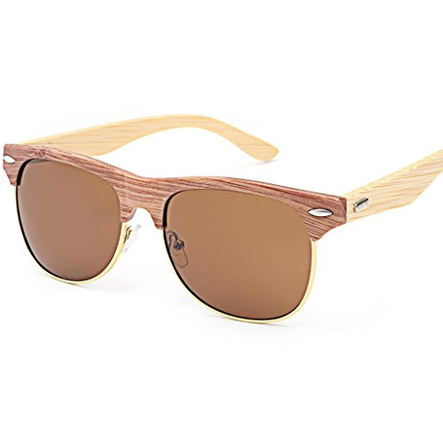 Unisex Sonnenbrille, Bambus Holz Bein Brille Travel Driving Glasses A