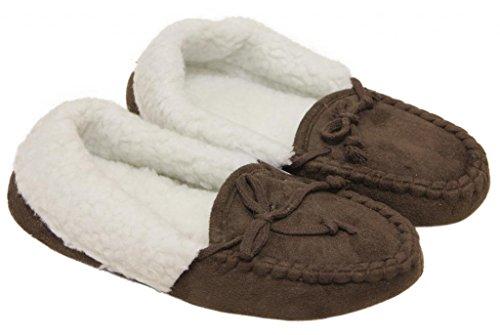 La Bellezza 8126 Donna Inverno Caldo Faux Pile Scamosciate Mocassini Interni In Pelle Scamosciata Marrone