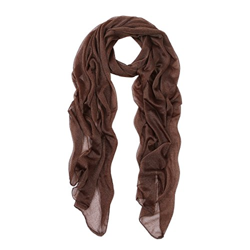 Elegant Silky Chiffon Sheer Plain Oblong Scarf Wrap, Coffee