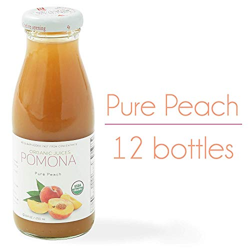 POMONA Pure Peach Juice, 8.4 Ounce Bottle (Pack of 12), Cold Pressed Organic Juice, Non-GMO, No Sugar Added, Not from Concentrate, Gluten Free, Kosher Certified, Preservative Free