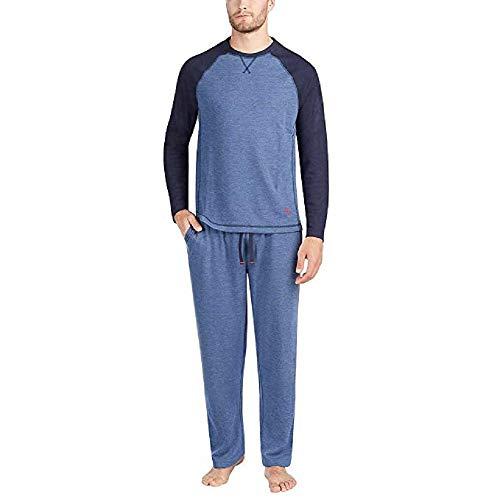 Tommy Bahama Men's Pajama Set, Crew Neck Top and Drawstring Pant (Navy, ()