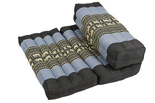 Kapok Dreams Foldable Meditation Cushion, 100% Kapok, 2 in 1 Zafu/Zabuton, Thai Design Blue Elephants