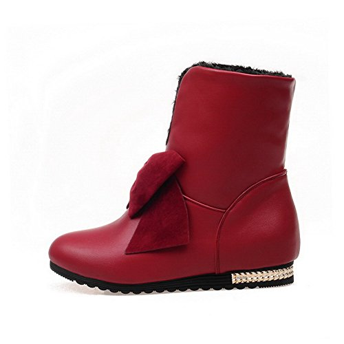 Red Heels AllhqFashion top Low Low Pull Womens Boots Solid on PU 4wxva