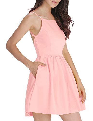 FANCYINN Women's Pink Short Dress Spaghetti Strap Backless Mini Skate Dress Light Pink XS