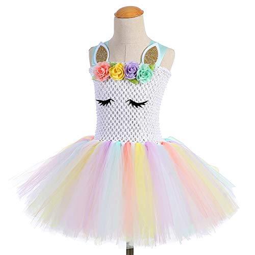 Girls Unicorn Dress up Rainbow Tutu Party Dress