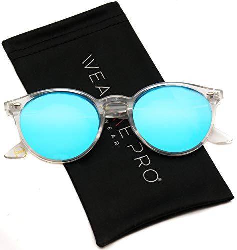 Sunglasses Frame Eyewear - WearMe Pro - Classic Small Round Retro Sunglasses (Clear Frame/Mirror Blue Lens, 51)