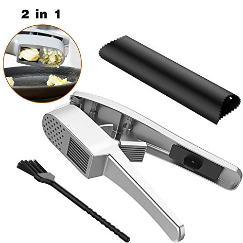 Garlic Press, 2 in 1 Garlic Mince and Garlic Slice with Garlic Cleaner Brush and Silicone Tube Peeler Set- Aluminum Alloy Garlic Crusher and Slicer- Durable and Easy to Clean