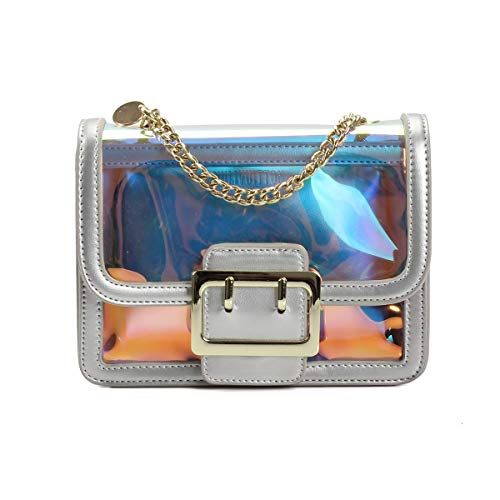Fuaisi Fashion Laser Transparent Small Square Bag Womens Jelly PVC Waterproof Set Chain Messenger Bag Shoulder Bag (Laser Silver)