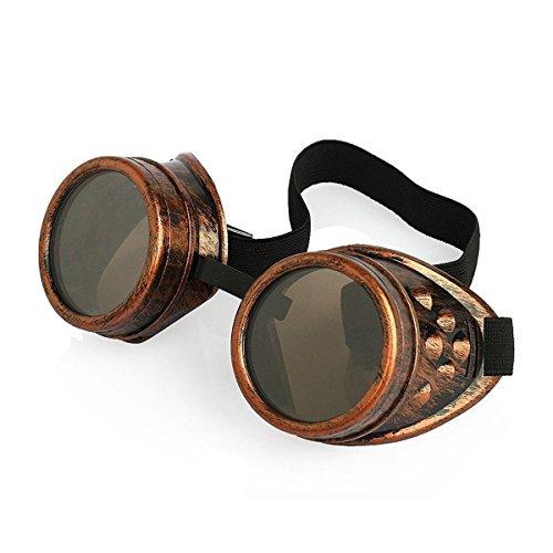 Gancho Marrón Punky Gótico Con Novedad de Claro Steampunk Cyber superior Lentes Vintage Victoriano Gafas en Rave Rústico Calidad Bronce Cosplay Redondo Estilo Premium Gafas Goth nOFcqcg7w8