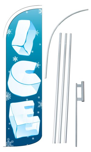 "NEOPlex - ""ICE"" 12-foot SUPER Swooper Feather Flag With Heavy-Duty 15-foot Pole and Ground Spike"