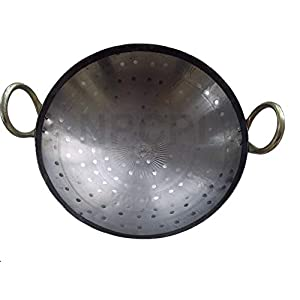 BRRL Iron Kadai Lokhand Loha Hand Hammered Kadhai Large Heavy Cooking Pan, 15″/38 cm, Black