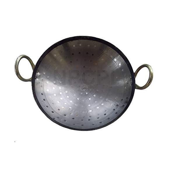 "BRRL Iron Kadai Lokhand Loha Hand Hammered Kadhai Large Heavy Cooking Pan, 15""/38 cm, Black"