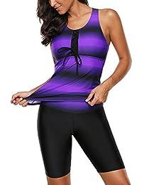 Women's Color Block Racerback Tankini Top with Swim Bottoms Swimsuit S-XXXL