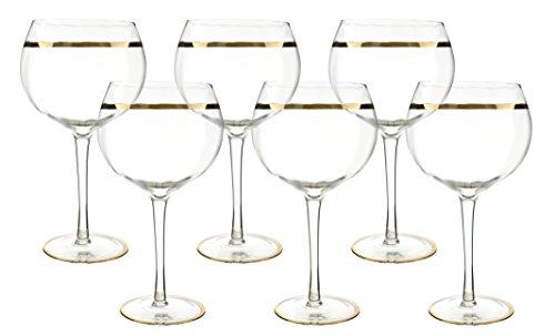 Gold Rim Goblet (WINE BODIES XM6302 Wine Glasses, Gold)