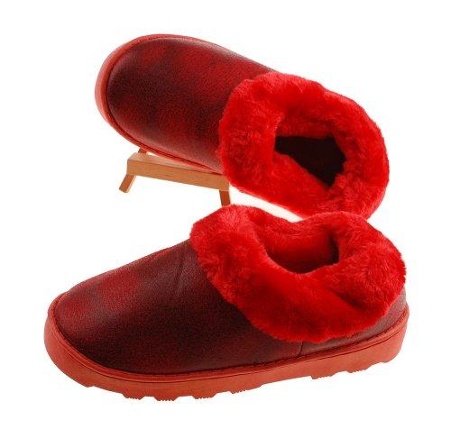 Colorfulworldstore Warme Wildleder-Hausschuhe, Winterhausschuhe für Damen und Herren mit weichem Plüsch und Golddruck Damen rot
