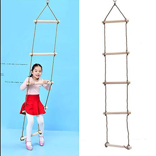 アニメーションヘルメット明確にロープのはしごの木のスイング、吊り梯子、おもちゃの店木製の傘キッズロープの梯子の庭の屋外ツリーのスイングフレーム (色 : A, サイズ : 1.75 meters*30 cm)