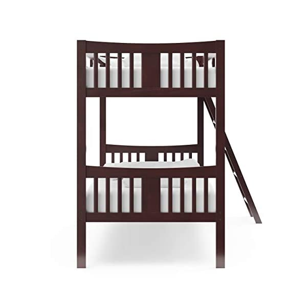 Storkcraft Caribou Solid Hardwood Twin Bunk Bed, Espresso Twin Bunk Beds for Kids with Ladder and Safety Rail 5