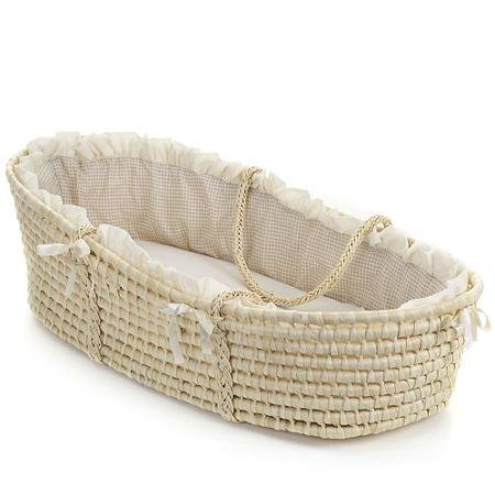 Cozy and Attractive Badger Basket Moses Basket with Liner, Tan Gingham Moses Baskets & Stands - Rocking Moses Stand