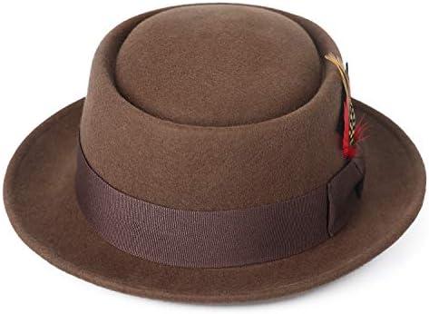 Deevoov Men Fedora Hats with Feather Australia Wool Felt Pork Pie Trilby Hat