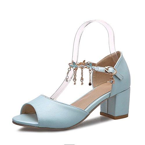 Allhqfashion Femmes Chaton-talons Matériau Souple Boucle Solide Sandales À Bout Ouvert Bleu