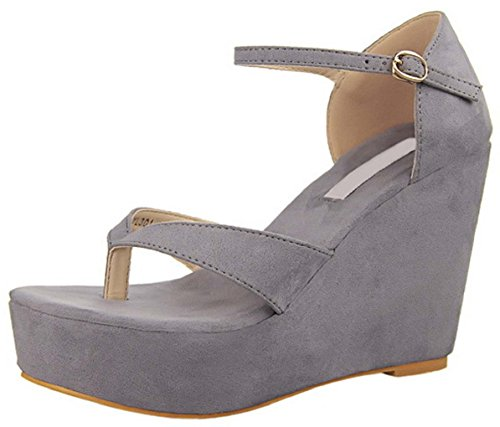 HooH Women's Ankle Strap Platform Wedge Sandals 301-1 Grey HocWF