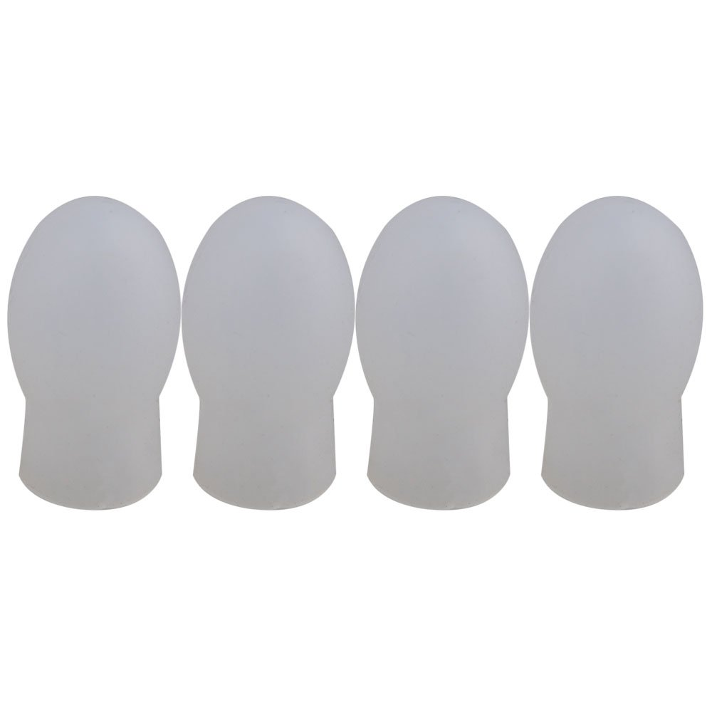 Yibuy 0.8x0.6inch White Rubber Drumstick Practice Silent Tips Pack of 4