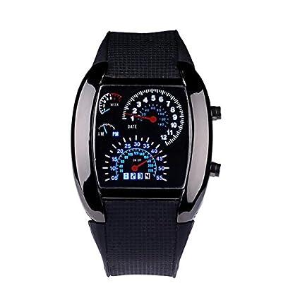Vovotrade Hombres Señora Moda Deportes aviación de marcación de turbo flash LED Reloj de pulsera metros