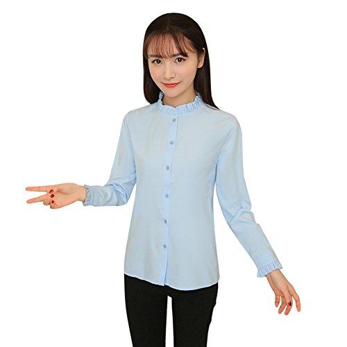 Shirt Ruffle Stand Collar (Luxsea Women Ruffle Stand Collar Shirts Long Sleeve Casual Button Work Office Lady Blouse)