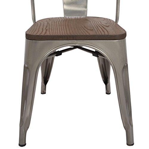 LCH Industrial Metal Wood Top Stackable Dining Chairs, Set of 4 Vintage Indoor/Outdoor Stackable Bistro Cafe Chairs with Back, Glossy Steel by LCH (Image #4)
