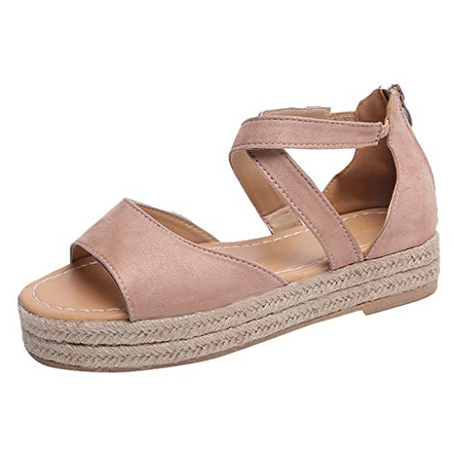 (KESEELY Ladies Beach Sandals - Women's Platform Peep Toe Woven Flat Thick Bottom Sandal Cross Roman Shoes Pink)